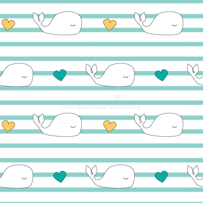 Иллюстрация предпосылки картины вектора милых китов шаржа безшовная бесплатная иллюстрация