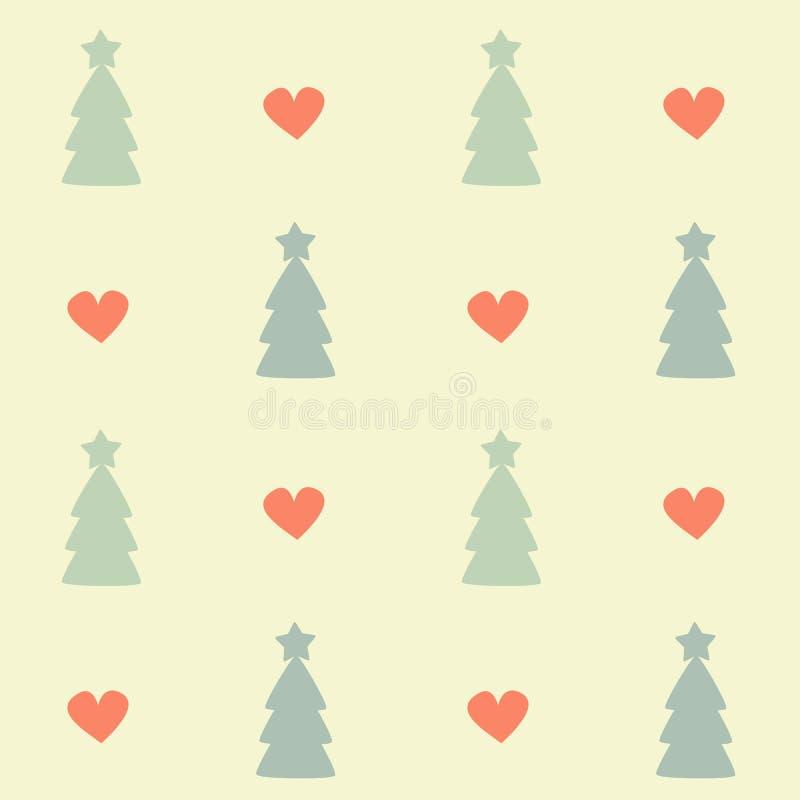 Иллюстрация предпосылки картины вектора милых пастельных рождественских елок безшовная с красными сердцами иллюстрация штока