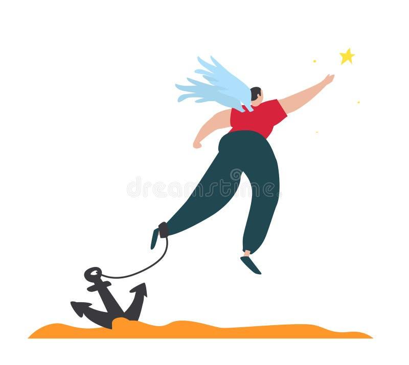 Иллюстрация прикованного ангела летая со звездой вектор Человек с крыльями прикованными к анкеру Иллюстрация для анимации, бесплатная иллюстрация