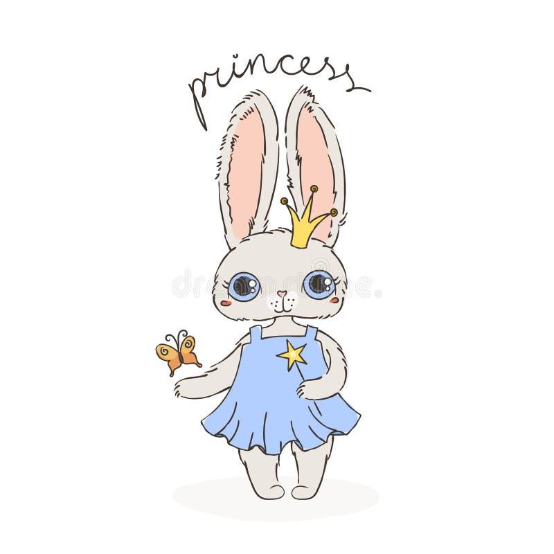 Иллюстрация принцессы зайцев с волшебными палочкой и бабочкой Иллюстрация вектора с зайчиком doodle иллюстрация штока