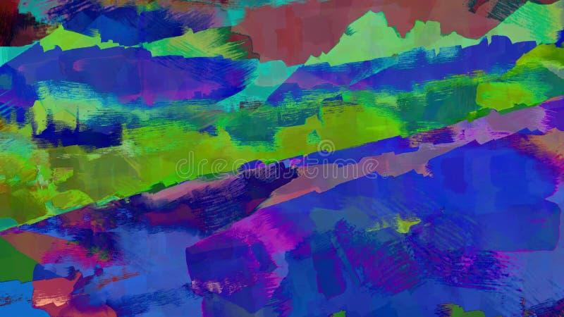 Иллюстрация природы океана реки неонового света ландшафта психоделической красочной с шлюпкой бесплатная иллюстрация