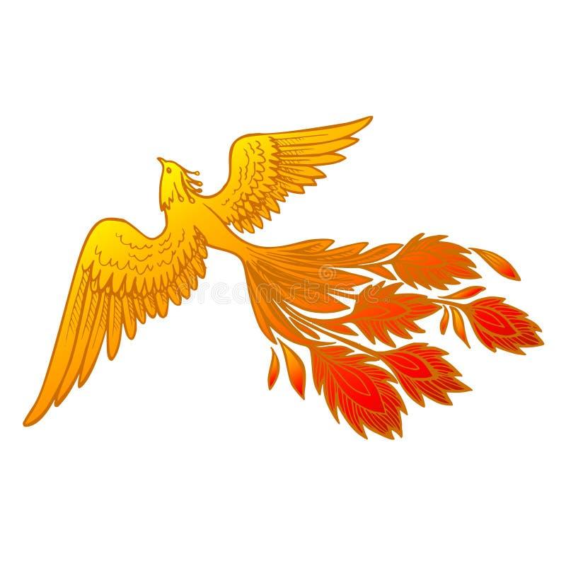 Иллюстрация птицы огня Феникса и дизайн характера Нарисованной стиль рукой татуировки Феникса японский и китайский, сказание  иллюстрация штока