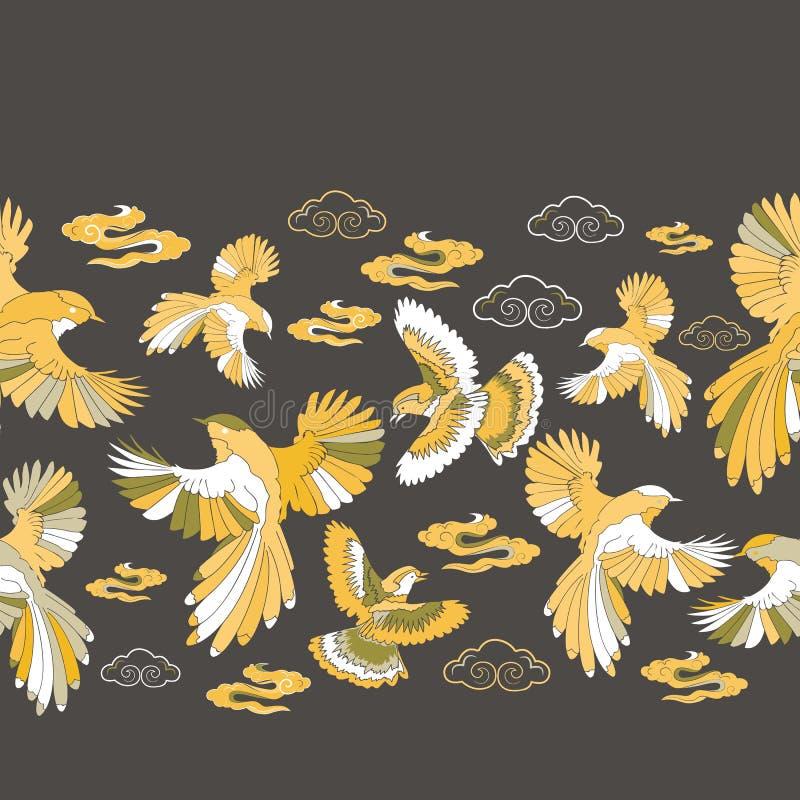 Иллюстрация птиц, голубого jay, соколов и облаков иллюстрация вектора