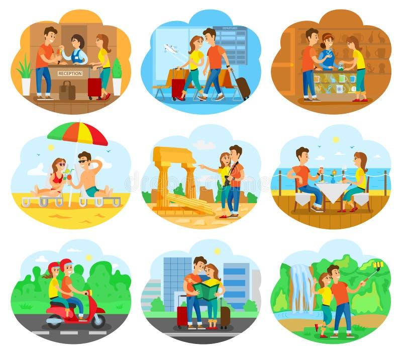Иллюстрация путешествием установила для Promo турагентства иллюстрация вектора