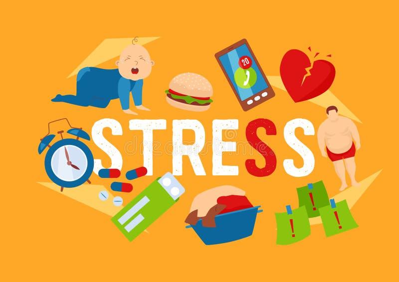 Иллюстрация работы и вектора знамени значков факторов стресса Плача характер ребенк Проблемы здоровья Жирный человек, разбитый се бесплатная иллюстрация