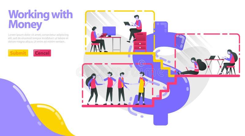 Иллюстрация работы с деньгами Работа людей, делает деятельность и взаимодействовать в здании доллара Работа людей в рабочем месте иллюстрация вектора