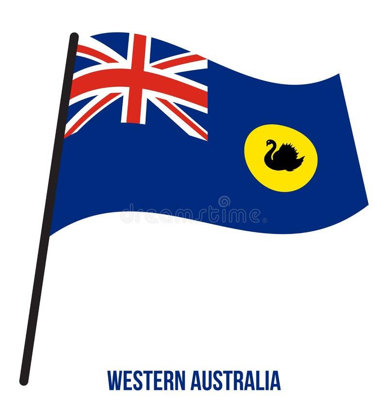 Иллюстрация развевая вектора флага западной Австралии WA на белой предпосылке Флаг государств Австралии бесплатная иллюстрация