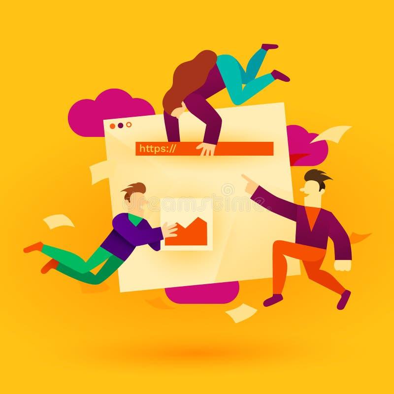 Иллюстрация развития места Приложения и веб-дизайн здания людей мультфильма Идея проекта UI или UX иллюстрация вектора