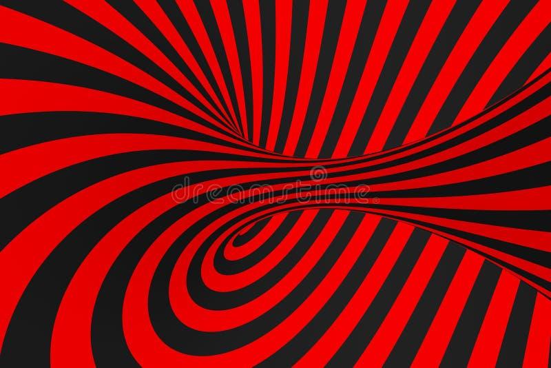 Иллюстрация растра обмана зрения торуса 3D Гипнотическое черное и красное изображение трубки Сравните переплетать петли, нашивки  бесплатная иллюстрация