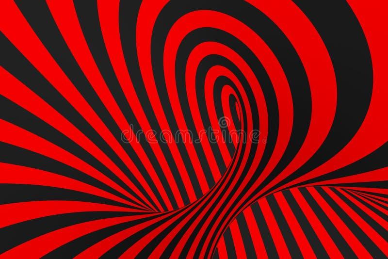 Иллюстрация растра обмана зрения торуса 3D Гипнотическое черное и красное изображение трубки Сравните переплетать петли, нашивки  иллюстрация вектора
