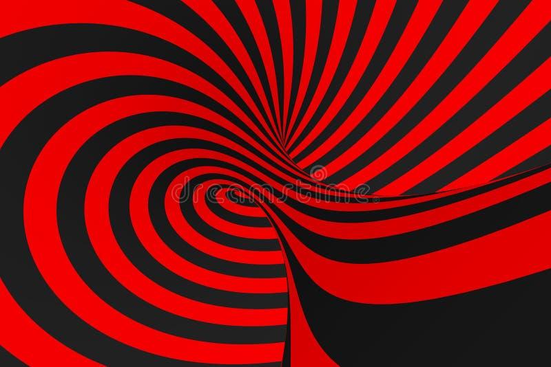 Иллюстрация растра обмана зрения торуса 3D Гипнотическое черное и красное изображение трубки Сравните переплетать петли, нашивки  иллюстрация штока