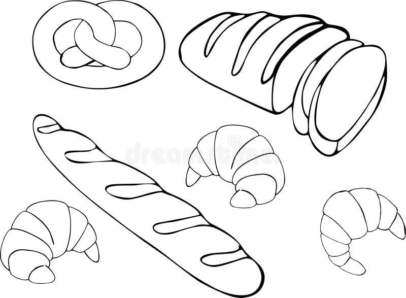 Иллюстрация растра хлеба нарисованная рукой установленная Собрание хлебопекарни еды клейковины иллюстрация вектора