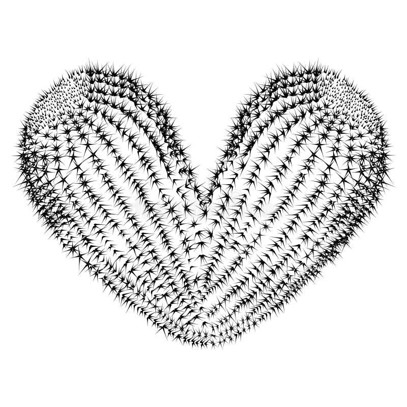 Иллюстрация реалистического зеленого кактуса в концепции формы сердц иллюстрация вектора
