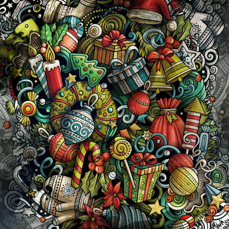 Иллюстрация рисунков 'Doodles Happy New Year' Фон творческого искусства 'Счастливого Рождества' стоковое изображение