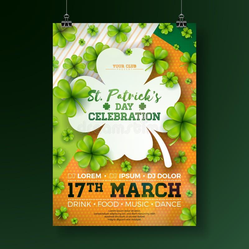 Иллюстрация рогульки партии дня ` s St. Patrick с клевером и письмо оформления на абстрактной предпосылке Ирландский вектора иллюстрация штока