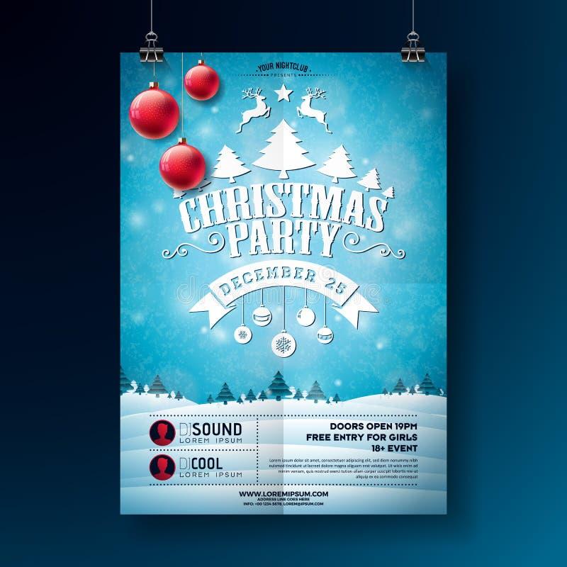 Иллюстрация рогульки рождественской вечеринки с элементами литерности и праздника оформления на предпосылке ландшафта зимы вектор иллюстрация вектора