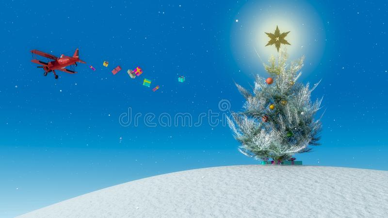 иллюстрация рождественской елки с звездой стоковое изображение