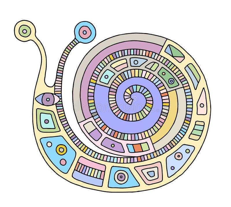 Иллюстрация руки вектора вычерченная красочная изолированной улитки с декоративными геометрическими элементами, линиями, точками  иллюстрация вектора