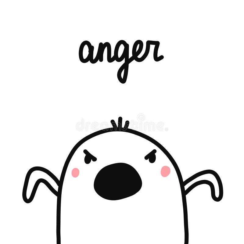 Иллюстрация руки гнева вычерченная с сердитым зефиром для грехов психотерапии 7 статей психологии плакатов печатей  бесплатная иллюстрация