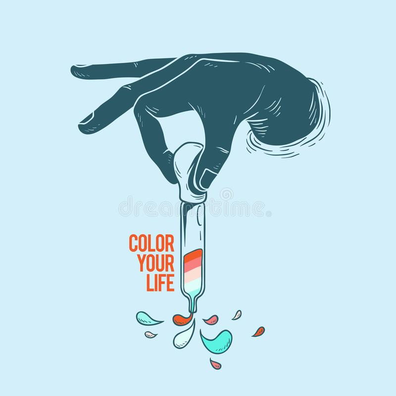 Иллюстрация руки держа цвет ` капельницы краски ваше ` жизни бесплатная иллюстрация