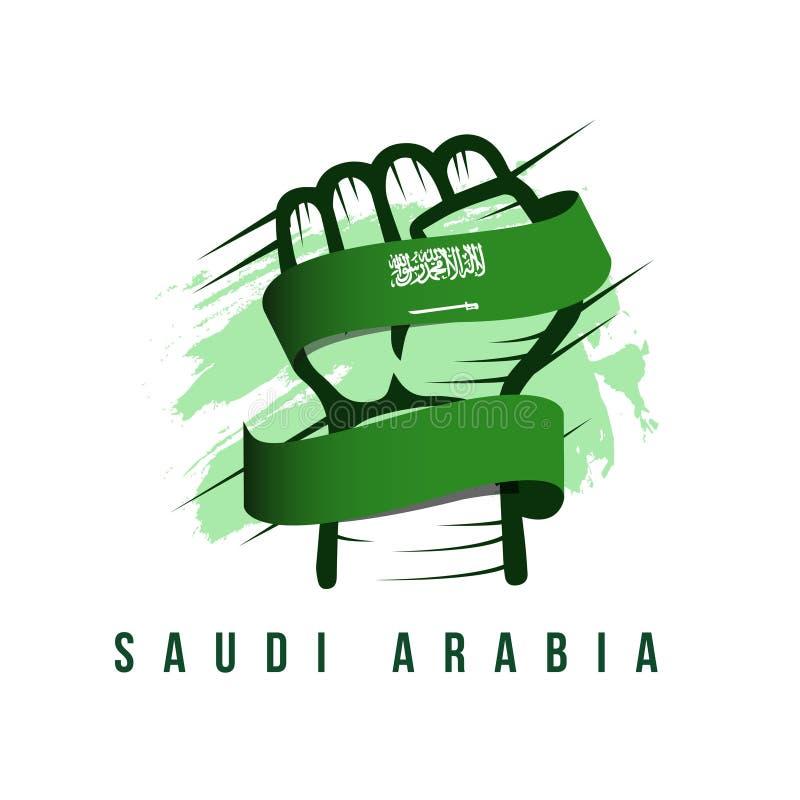 Иллюстрация руки Саудовской Аравии и дизайна шаблона вектора флага иллюстрация вектора