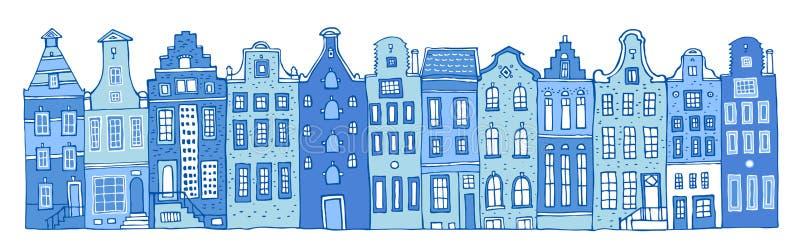 Иллюстрация руки эскиза вектора Амстердама вычерченная План мультфильма расквартировывает фасады в ряд в цветах голубых красок фа иллюстрация вектора