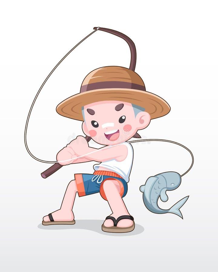 Иллюстрация рыбной ловли мальчика милого стиля японская иллюстрация вектора