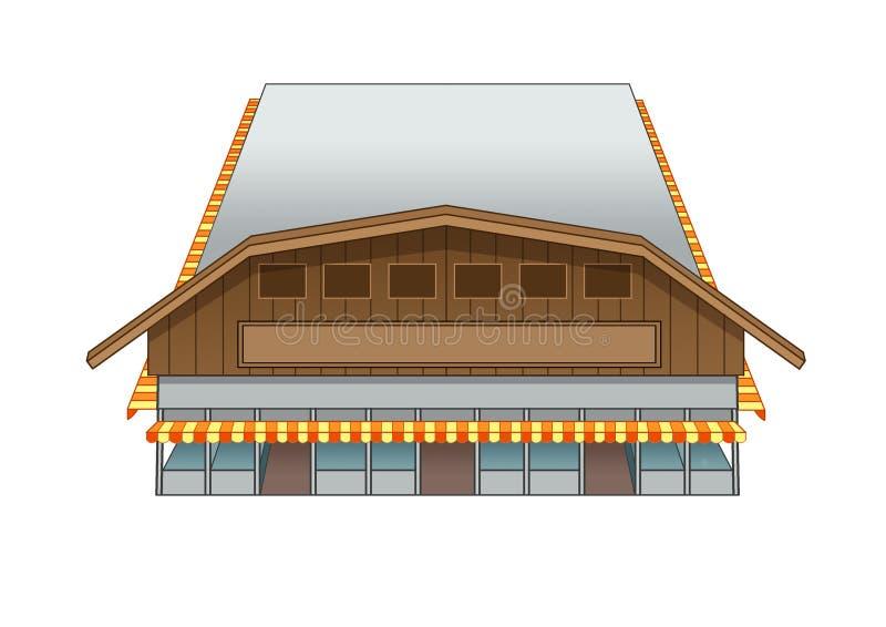 Иллюстрация рынка здания дизайна западная иллюстрация вектора