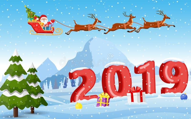 Иллюстрация Санты и северного оленя на снеге иллюстрация штока