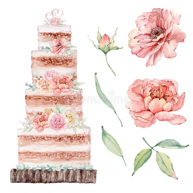 Иллюстрация свадебного пирога акварели бесплатная иллюстрация