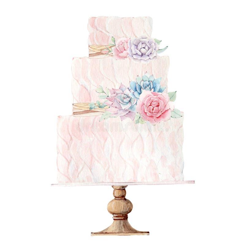 Иллюстрация свадебного пирога акварели иллюстрация вектора