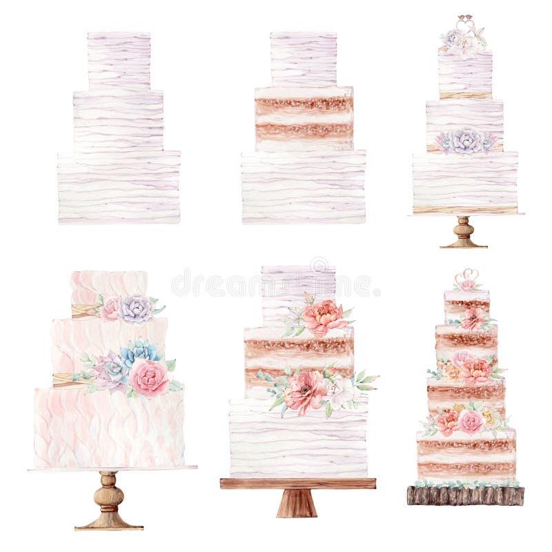 Иллюстрация свадебного пирога акварели иллюстрация штока