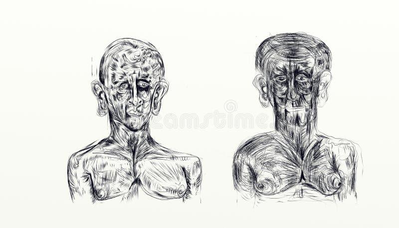 Иллюстрация сделанная при nankin показывая бюст 2 людей встает на сторону - мимо - сторона иллюстрация вектора