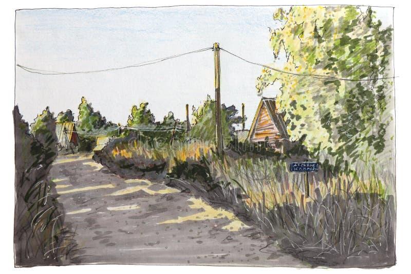 Иллюстрация сделанная ручкой войлок-подсказки эскиза Сельский ландшафт в лете иллюстрация штока