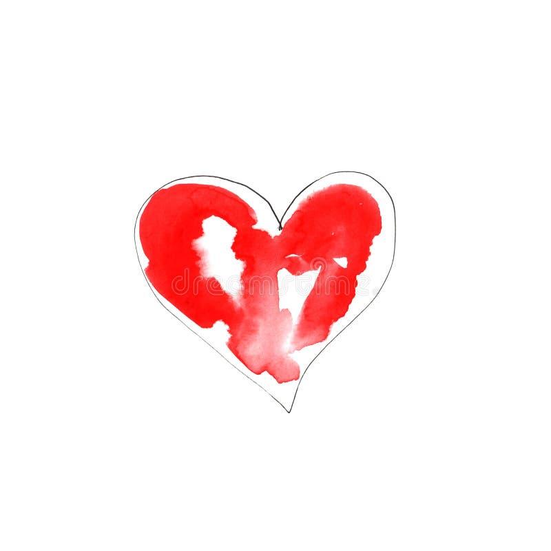 Иллюстрация сердец акварели красных бесплатная иллюстрация