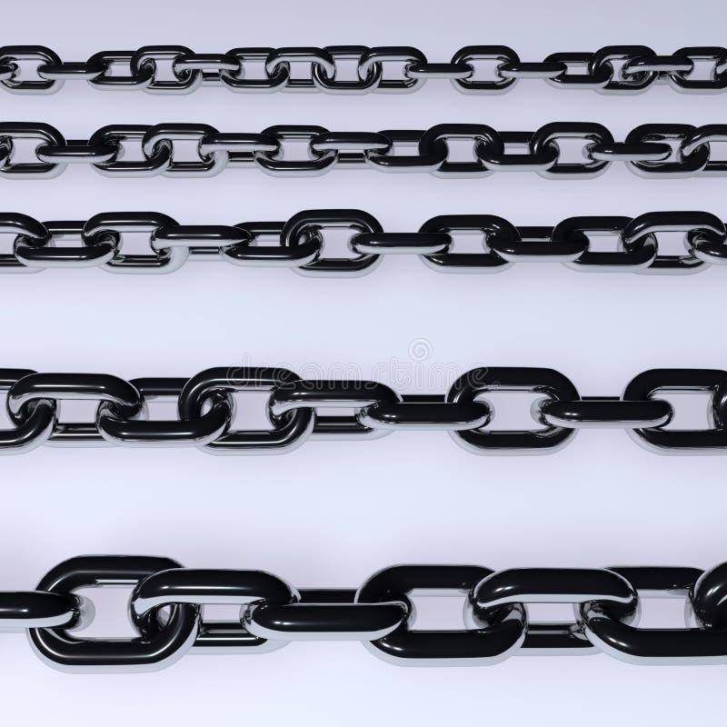 Иллюстрация серебра 3d металла покрашенная цепями бесплатная иллюстрация