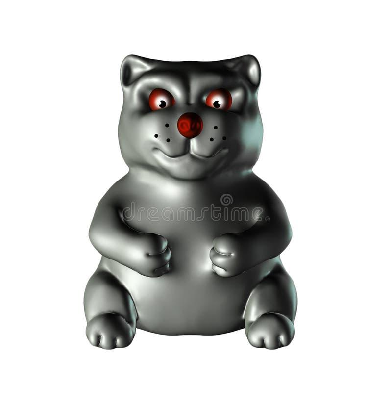 Иллюстрация серого лоска металла, лоск кота 3D, изолированный на белизне бесплатная иллюстрация