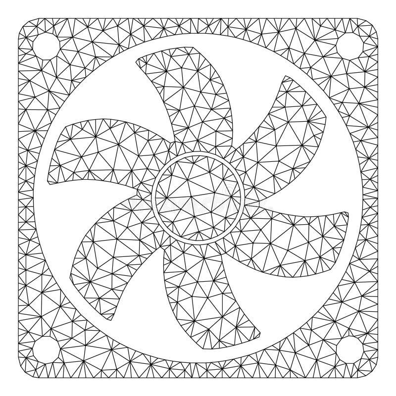 Иллюстрация сетки вектора рамки охладителя компьютера полигональная иллюстрация вектора