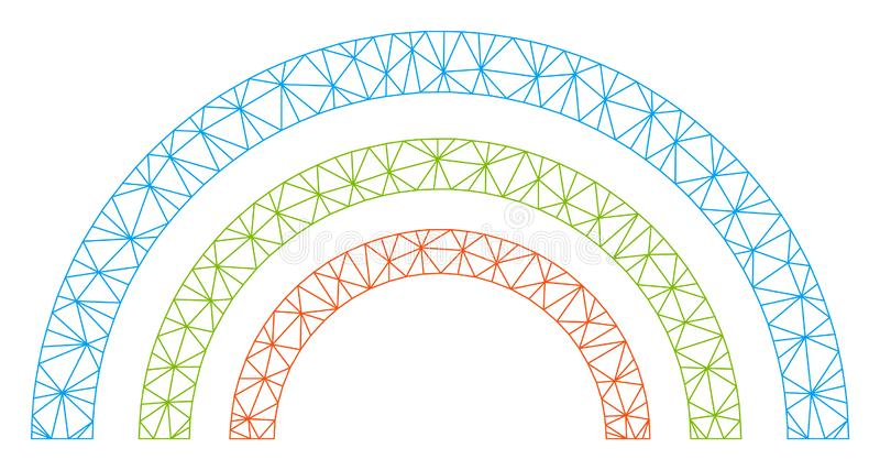 Иллюстрация сетки вектора рамки радуги цвета полигональная иллюстрация вектора