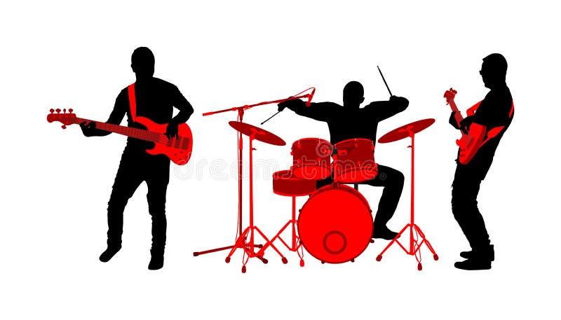Иллюстрация силуэта вектора диапазона рок-н-ролла Гитара и барабанчики игры музыканта басовая на этапе Супер шоу концерта музыки  иллюстрация вектора