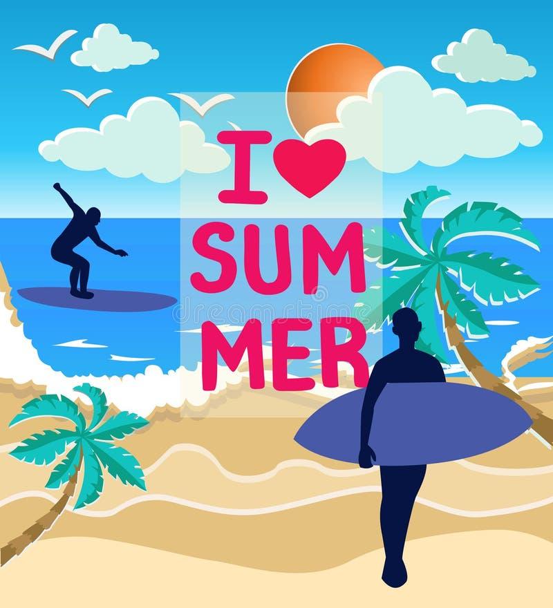 Иллюстрация силуэтов моря, солнца и серферов на beac бесплатная иллюстрация