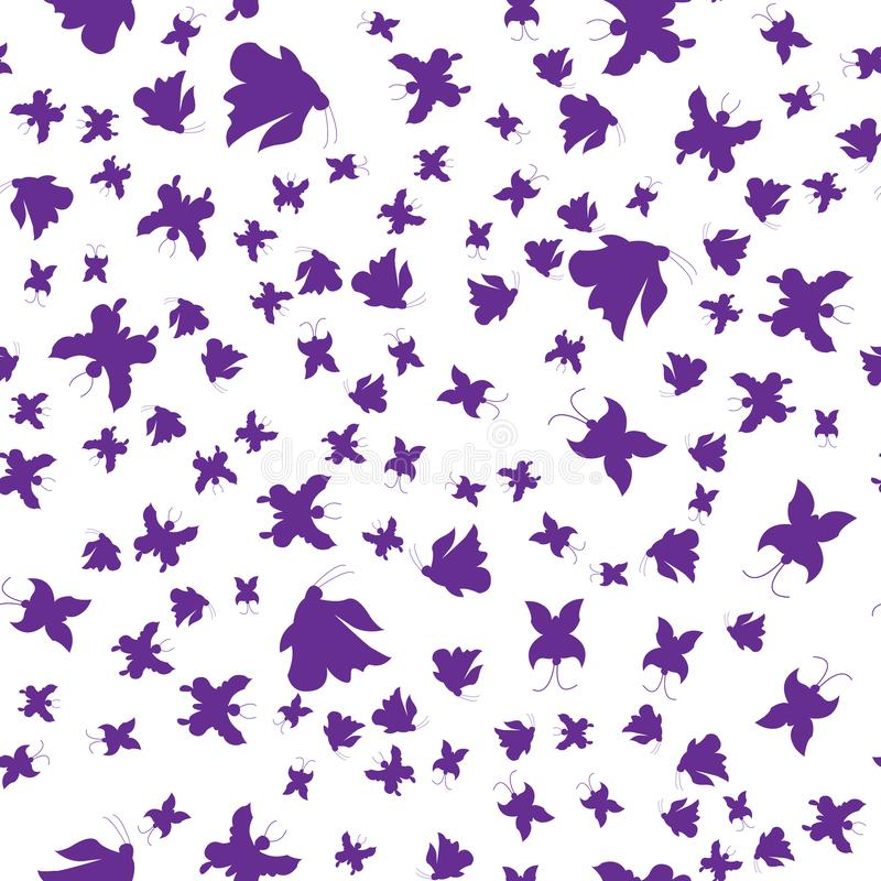 иллюстрация Силуэты фиолетовых бабочек картина безшовная иллюстрация вектора