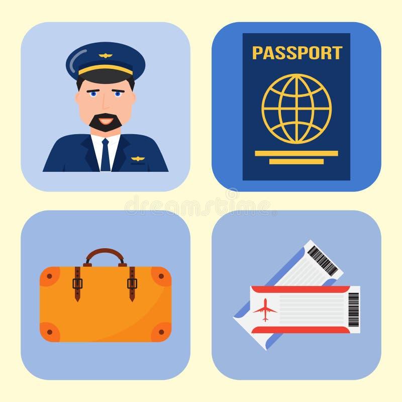 Иллюстрация символа перемещения мухы пилота авиапорта графических символов авиакомпании вектора значков авиации установленная иллюстрация вектора