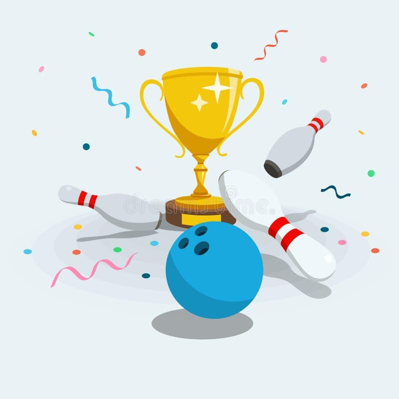 Иллюстрация символа турнира боулинга с разбросанными skittles, шариком боулинга и чашкой золота выигрывая иллюстрация вектора