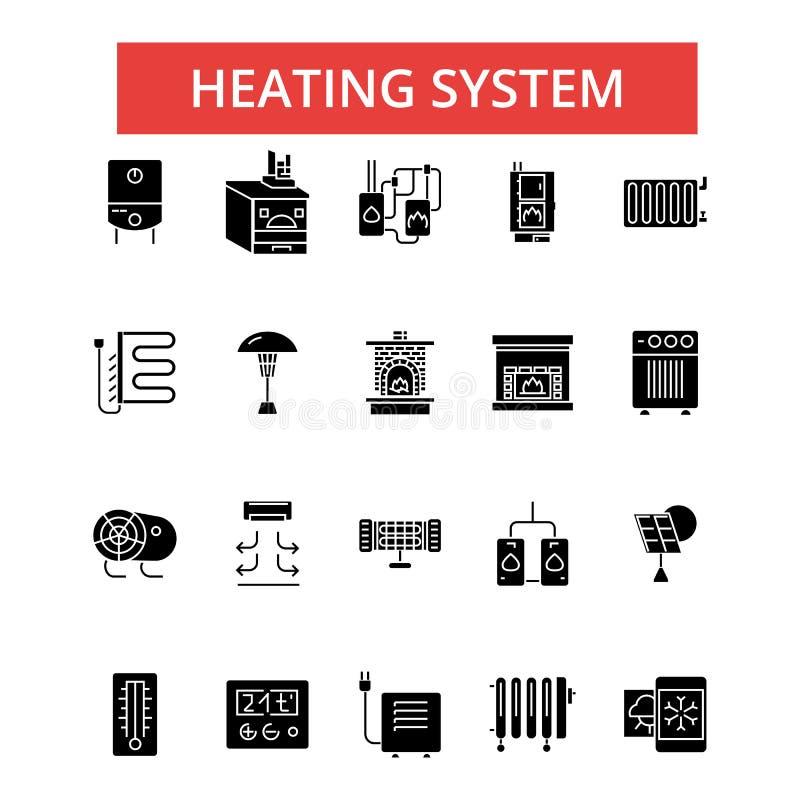 Иллюстрация системы отопления, тонкая линия значки, линейный плоский знак бесплатная иллюстрация