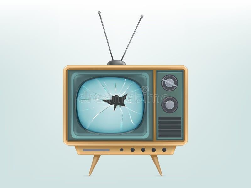 иллюстрация сломленного ретро телевизора, телевидения Раненое электрическое видео-дисплей для передавать, новости бесплатная иллюстрация