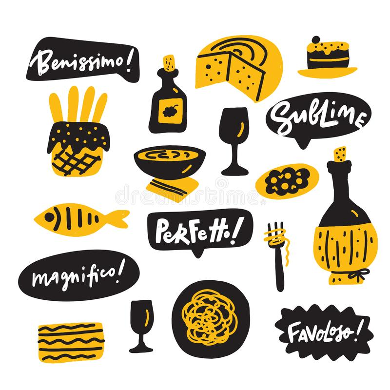 Иллюстрация смешной руки вычерченная итальянской кухни и выражения наслаждения о вкусной еде вектор техника eps конструкции 10 пр иллюстрация вектора