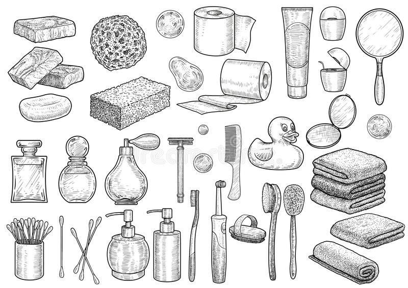 Иллюстрация собрания ванной комнаты, чертеж, гравировка, чернила, линия искусство, вектор иллюстрация штока