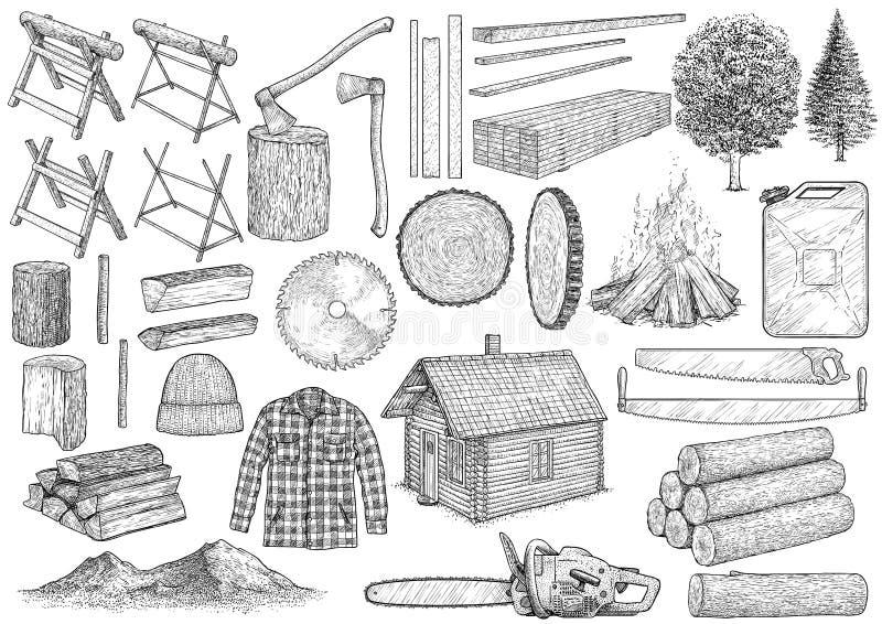 Иллюстрация собрания оборудования Lumberjack, чертеж, гравировка, чернила, линия искусство, вектор бесплатная иллюстрация