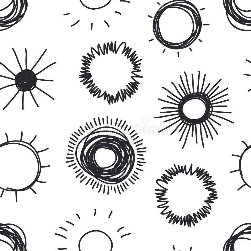 Иллюстрация Солнце руки вычерченная Картина стиля Doodle безшовная Blac иллюстрация штока